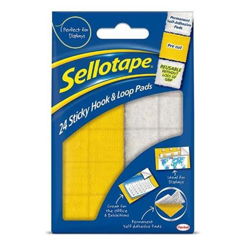 Sellotape Hook and Loop Self Adh Pads 20x20mm 1445176 (PK24)
