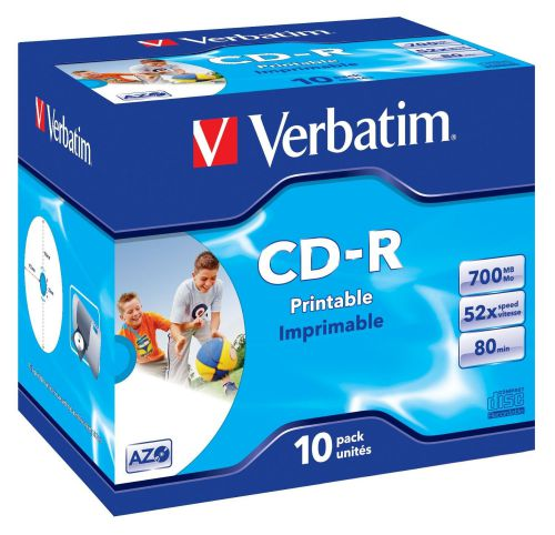 Verbatim CDR Printable 80Min 52X Box Of 10