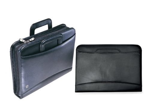 Collins A4 Conference Folder with Retractable Handles Leather Look Black BT001