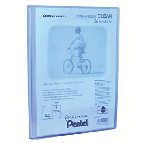 Pentel Recycology A4 Display Book Clear 20 Pocket Blue PK20