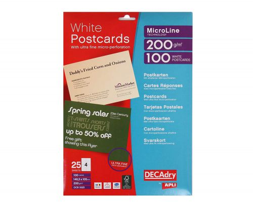Decadry Wh Pstcrds 200gsm Pk 100