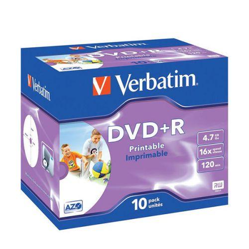 Verbatim DVD Plus R 4.7GB Printable Jewel Case Box of 10