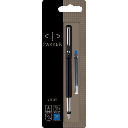 Parker Vector Fountain Pen Black/Stainless Steel Barrel Blue Ink