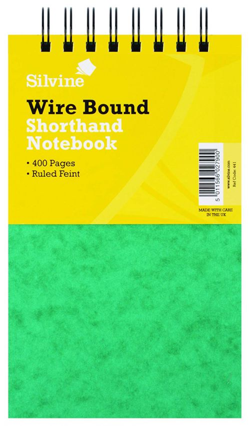 Silvine Lux Twinwire Shorthand Stiff Covered Notebook PK6