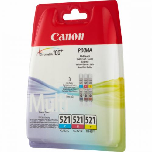 Canon 2934B010 CLI521 CMY Ink 3x9ml Multipack