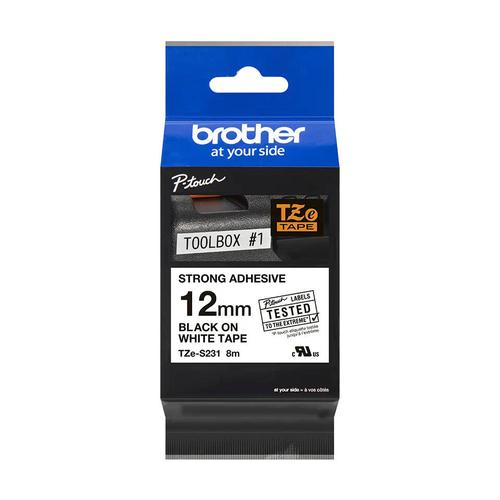 Brother P-Touch TZe-S231 12mmx8m BlkOnWht Strong Adhe Lam Lab Tape Ref TZES231 *3to5 Day Leadtime*