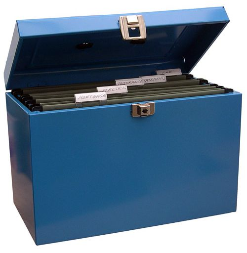 ValueX Cathedral Metal File Box A4 Blue