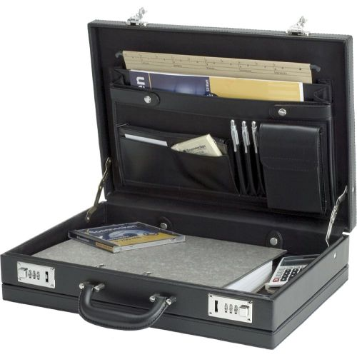Alassio Ponte Attache Case Multi-section Expandable by 20mm Leather-look Black Ref 92300
