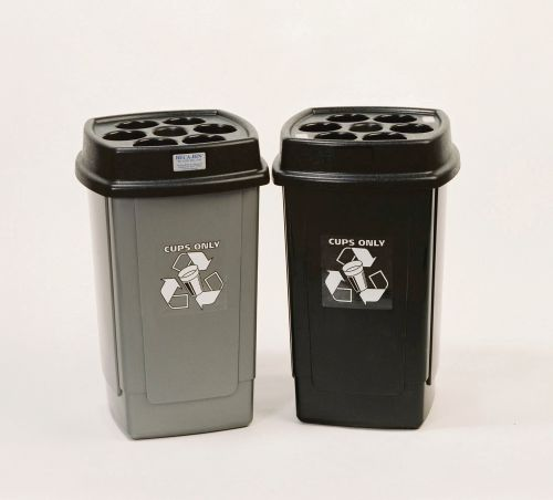 Disposable Cup Waste Bin Capacity of 480x 7oz Cups 360x360x650mm Black/Silver