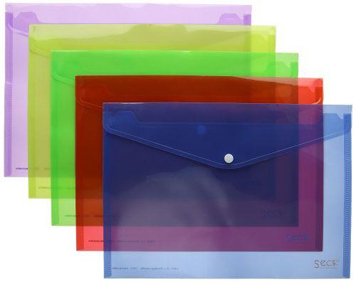 SECO 100% Oxo Biod Translucent Popper Wallet ASSTD PK5