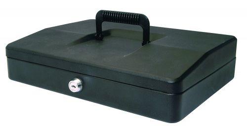 Helix 30cm Sloping Lid Cash Box Black