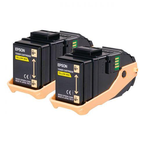 Epson C13S050606 0602 Yellow Toner 2x7.5K Twinpack