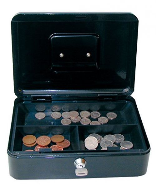 Value 25cm 10  Metal Cash Box BK