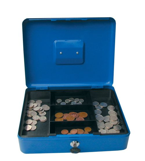 Value 25cm (10 Inch) key lock Metal Cash Box Blue