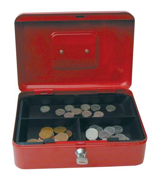 Value 25cm (10 Inch) key lock Metal Cash Box Red