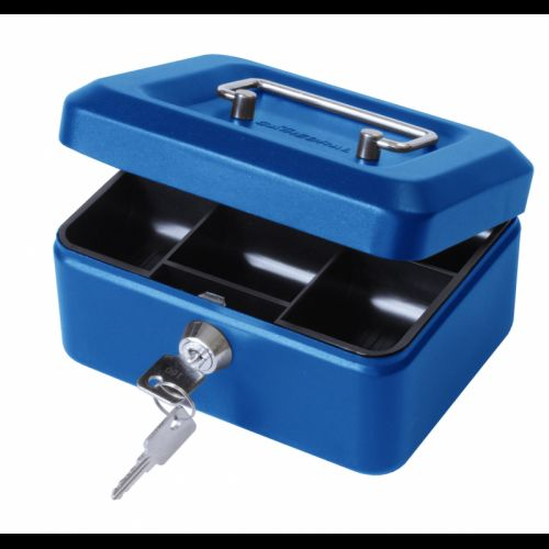 ValueX 20cm (8 Inch) key lock Metal Cash Box Blue