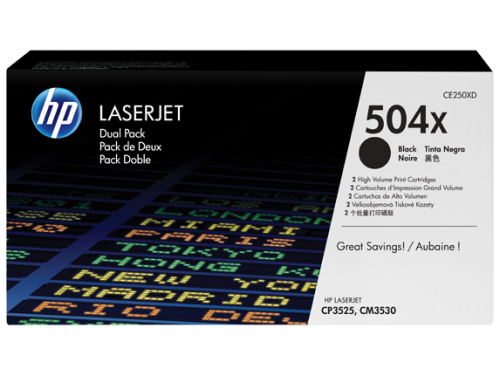 HP CE250X 504X Black Toner 10.5K Twinpack