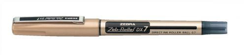 Zebra DX7 Rollerball Liquid Ink Pen Med Needle Point BK PK10