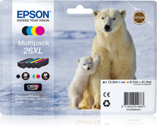 Epson C13T26354012 26XL Black Colour Ink 12ml 3x10ml Multi