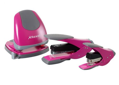 Rexel Easy Touch Stapler Flat Clinch Half Strip Capacity 30 Sheets Pink Ref 2102636