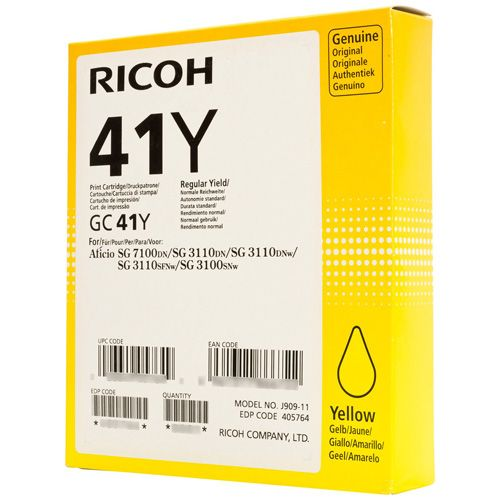Ricoh 405768 GC41YL Yellow Gel Ink 600