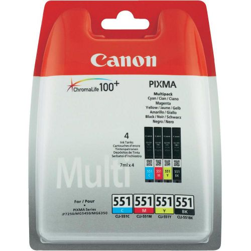Canon 6509B009 CLI551 CMYK Ink 4x7ml Multipack