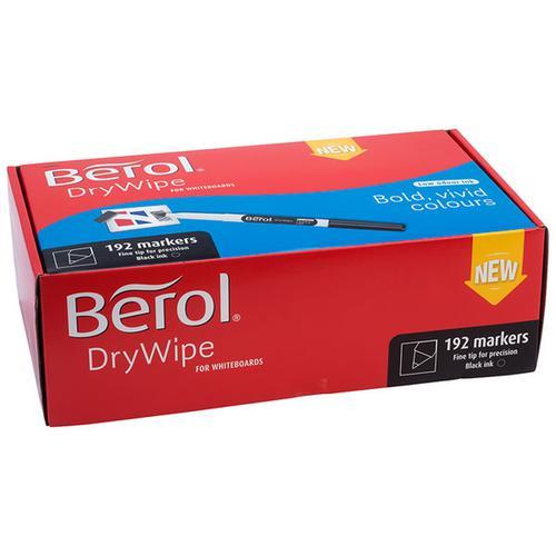 Berol Dry Wipe Whiteboard Marker Fine 1mm Black (Pack 192)