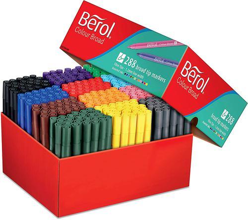Berol Felt Tip Colouring Markers Broad 1.2mm Assorted PK288