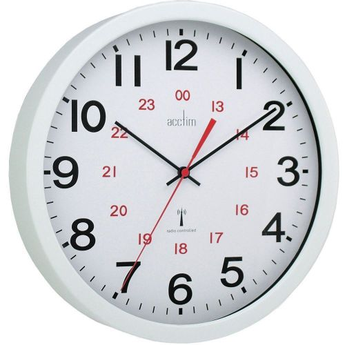 Acctim Controller Wall Clock Radio Controlled 30cm White 74172