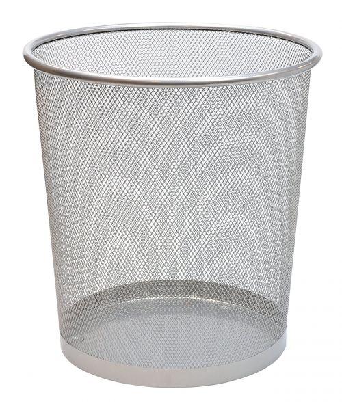 Osco Mesh Waste Bin Lightweight Sturdy Scratch Resist (Silver)
