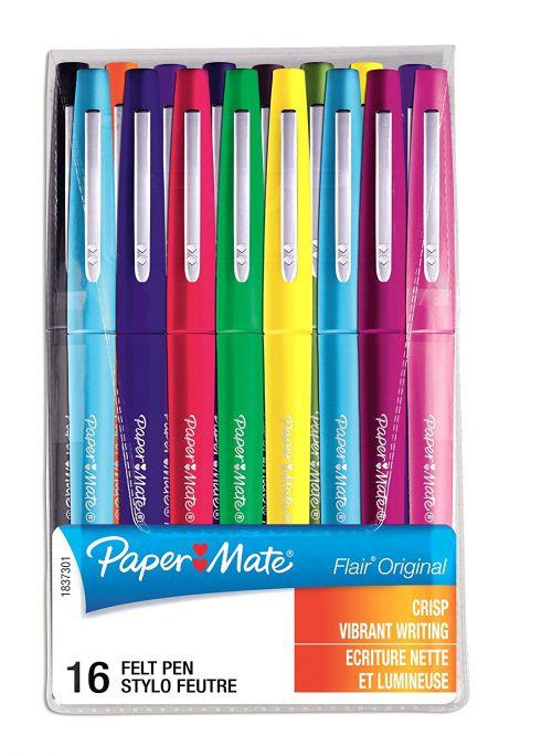 Paper Mate Flair Felt Tip Assorted PK16 1mm tip width