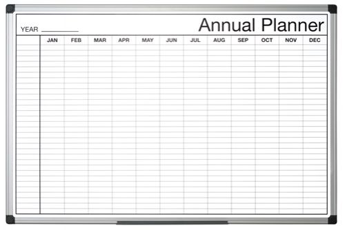 Image for Bi-Office Black and White Annual Planner 90x60cm