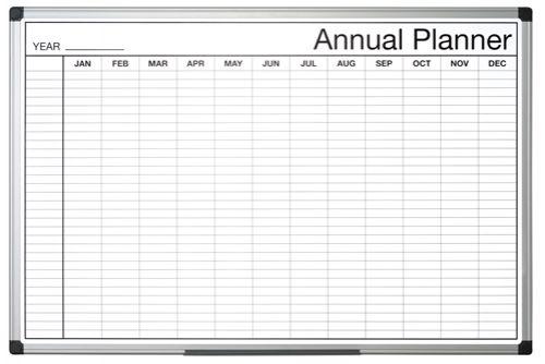 Bi-Office Black and White Annual Planner 90x60cm