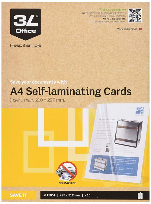 3L Self Laminating Card Polypropylene A4 (Pack 10) 11051