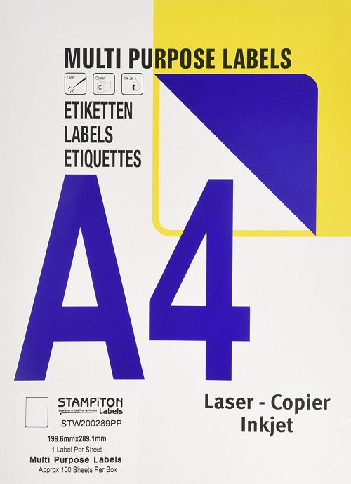 Value Multipurpose Label 199.6x289.1mm 1 Per Sht