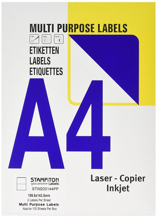 Value Multipurpose Label 199.6x143.5mm 2 Per Sht (200Labels)