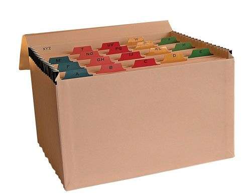 Cathedral Expanding File Manilla Mylar Reinforced 19 Pocket Labelled A-Z Buff