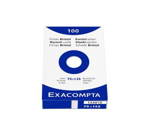 Exacompta Record Cards Plain 75x125mm White 13301E (PK100)