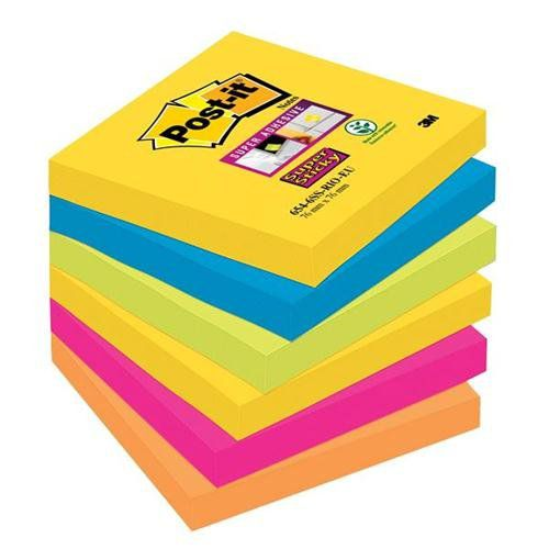 Post-it Super Sticky 76x76mm Rio Assort 654-6SS-RIO-EU PK6