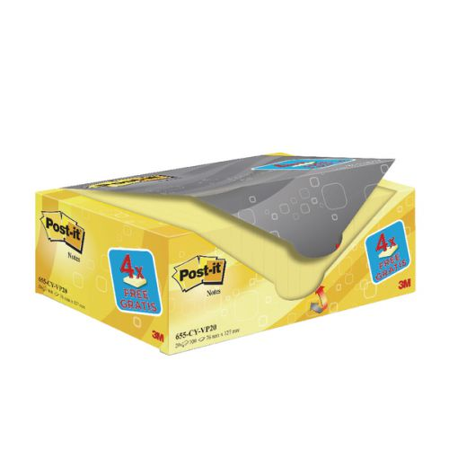Image for Post-It Canary Yellow 76x127mm Value Pack 655CY-VP20 PK20