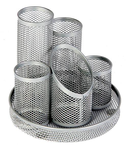 Osco 5 Tube Mesh Pencil Pot Scratch Resistant (Silver)