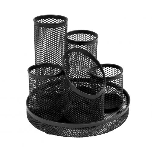 Mesh 5 Tube Pen Pot Black