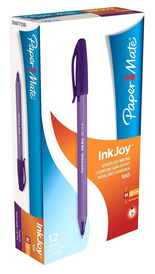 PaperMate InkJoy 100 CAP Ball Pen Medium Tip Purple PK12