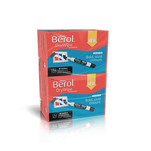 Berol Dry Wipe Whiteboard Marker Chisel 2mm 5mm Asst PK96