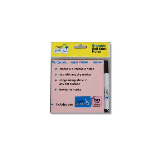 Magic Whiteboard Pink Sticky Notes & Pen 50 Sheet 10x10cm