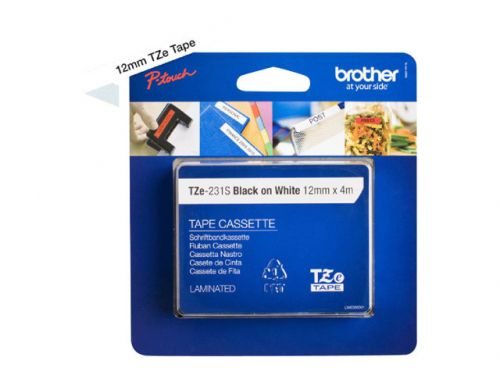 Brother TZE231S2 Black On White Label Tape 12mmx4m