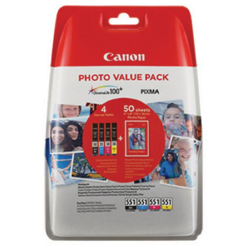Canon 6508B005 CLI551 CMYK Photo Ink 4x7ml Multipack