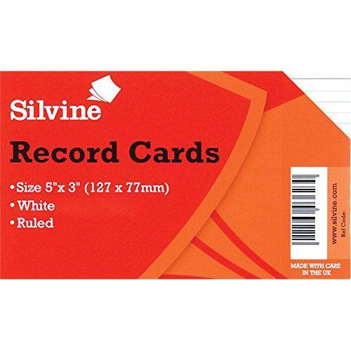 Silvine Record Cards 127x76mm Ruled White