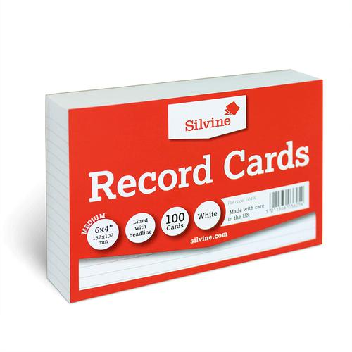 Value Record Cards 152 x 102mm 170g/m2 Feint Ruled Landscape White 100 Cards Per Pack