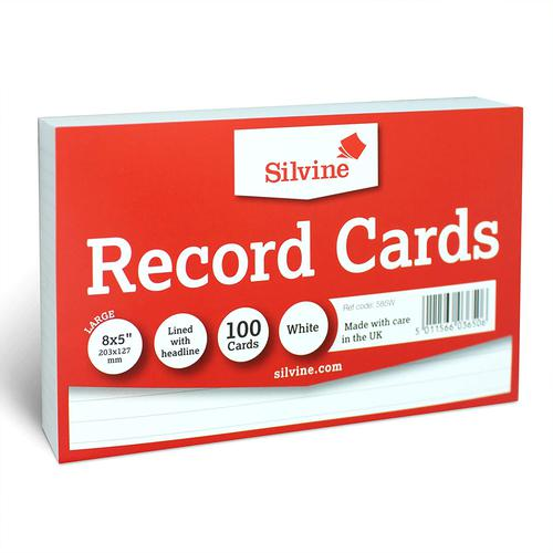 ValueX Record Cards Ruled Both Sides 8x5in 203x127mm White (Pack 100)